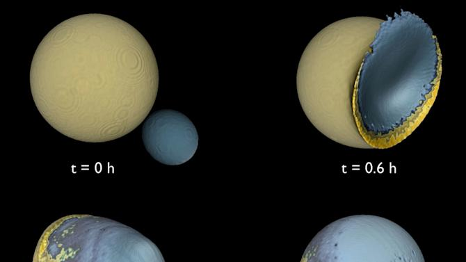 """This diagram provided by Martin Jutzi and Erik Asphaug, University of California, Santa Cruz via Nature shows a simulation of four stages of a collision between the Moon and a companion moon, four percent of the lunar mass, about 4 billion years ago. Earth once had a second moon, until it made the fatal mistake of smacking its big sister, some astronomers now theorize. For awhile when the Earth was young, it had a big moon, the one you see now, and a smaller """"companion moon"""" orbiting above. Then one day that smaller moon collided into the bigger one in what astronomers are calling the """"big splat."""" (AP Photo/Martin Jutzi and Erik Asphaug, University of California, Santa Cruz via Nature)"""