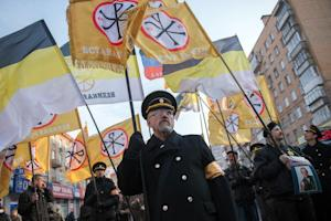 Russia's nationalist supporters take part in a …