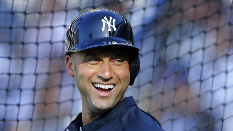 New York Yankees shortstop Jeter shares a laugh during Major League Baseball game against the San Diego Padres in San Diego
