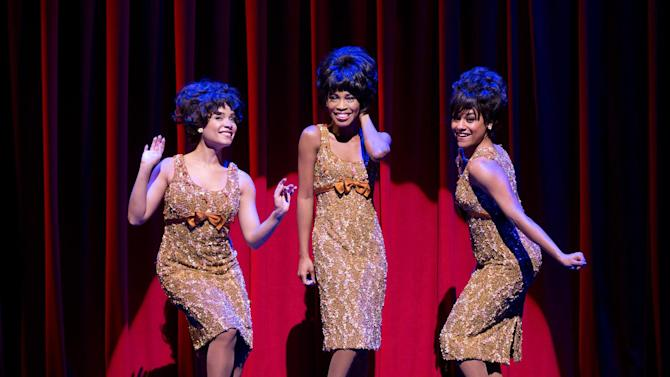 "FILE - This undated photo released by Boneau/Bryan-Brown shows, from left, Sydney Morton as Forence Ballard, Valisia LeKae as Diana Ross and Ariana DeBose as Mary Wilson of The Supremes in ""Motown: The Musical,"" performing at the Lunt-Fontanne Theatre in New York. The budding Broadway star, LeKae, was diagnosed with ovarian cancer in late 2013, went through surgery and this week endured her first of six planned chemotherapy rounds. (AP Photo/Boneau/Bryan-Brown, Joan Marcus, File)"