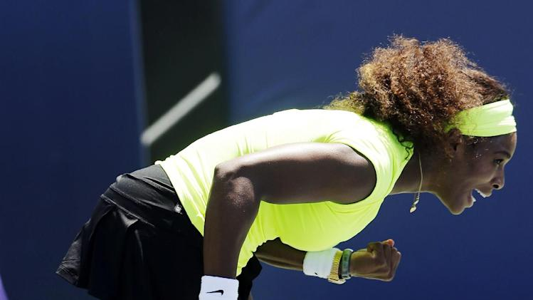 Serena Williams reacts after winning the first set over Coco Vandeweghe during the final of the Bank of the West tennis tournament, Sunday, July 15, 2012, in Stanford, Calif. (AP Photo/Marcio Jose Sanchez)