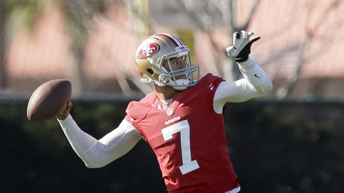 San Francisco 49ers quarterback Colin Kaepernick throws during practice on Thursday, Jan. 31, 2013, in New Orleans. The 49ers are scheduled to play the Baltimore Ravens in the NFL Super Bowl XLVII football game on Feb. 3. (AP Photo/Mark Humphrey)