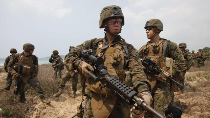"""U.S. Marines participate in an amphibious assault exercise as part of the """"Cobra Gold 2013"""" (CG13) joint military exercise at a military base in Chonburi province"""