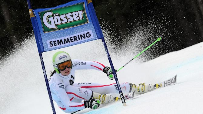 Austria's Anna Fenninger competes during the first run of an alpine ski, women's World Cup giant slalom in Semmering, Austria, Friday, Dec. 28, 2012. (AP Photo/Pier Marco Tacca)