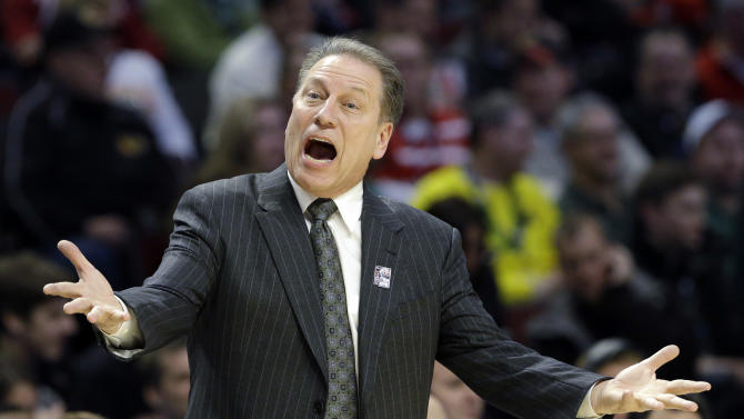 Michigan State head coach Tom Izzo reacts during the first half of an NCAA college basketball game against Ohio State at the Big Ten tournament Saturday, March 16, 2013, in Chicago. (AP Photo/Nam Y. Huh)