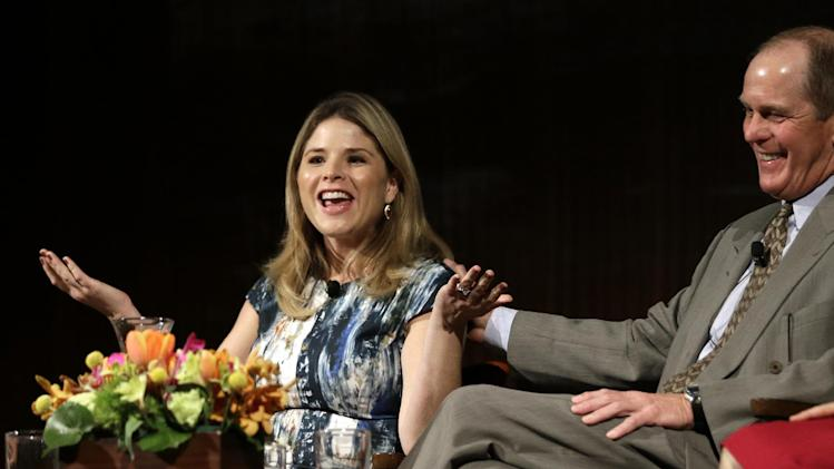 Jenna Bush Hager, left, talks about life in the White House as Steve Ford, right, laughs, during the Enduring Legacies of America's First Ladies conference Thursday, Nov. 15, 2012, in Austin, Texas. The children of three presidents discussed life in the White House as part of a conference on first ladies at the Lyndon B. Johnson Presidential Library. (AP Photo/David J. Phillip)