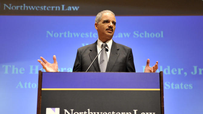 "Attorney General Eric Holder speaks at the Northwestern University law school, Monday, March 5, 2012 in Chicago. Holder said Monday that the decision to kill a U.S. citizen living abroad who poses a terrorist threat ""is among the gravest that government leaders can face,"" but justified lethal action as legal and sometimes necessary in the war on terror. (AP Photo/Brian Kersey)"
