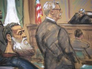 Courtroom sketch shows Nazih al-Ragye known by the alias Abu Anas al-Liby as he appears with attorney Kleinman before Judge Kaplan in Manhattan Federal Court in New York