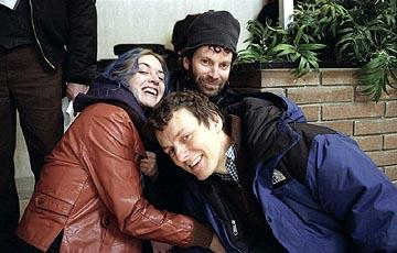 Kate Winslet , writer Charlie Kaufman and director Michel Gondry on the set of Focus' Eternal Sunshine of the Spotless Mind