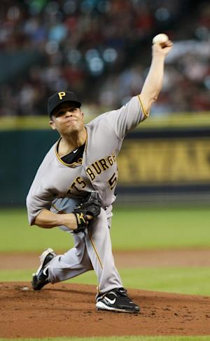 Pittsburgh Pirate Wandy Rodriguez pitches in the bottom of the first inning as the Houston Astros play the Pittsburgh Pirates July 28, 2012 in Houston. (AP Photo/Eric Kayne)