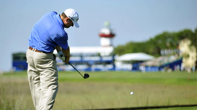 Chad Campbell hits off the 18th tee during the first round of the Heritage golf tournament in Hilton Head, S.C., Thursday, April 12, 2012. (AP Photo/Stephen Morton)