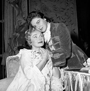 "FILE - The Dec. 2, 1959 file photo shows famed German Prima Donna Elisabeth Schwarzkopf and Sena Jurinac, top, in a scene from the Richard Strauss Opera ""Der Rosenkavalier"" during rehearsal at the Royal Opera House in Covent Garden, London. 90-years-old Jurinac died Nov. 22, 2011 in her house near Augsburg, Germany. (AP Photo)"