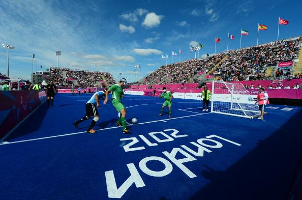 A general view during the Men's Team Football 5-a-side match between Argentina and Iran on Day 2 of the London 2012 Paralympic Games at the Riverbank Arena in the Olympic Park on August 31, 2012 in Lo