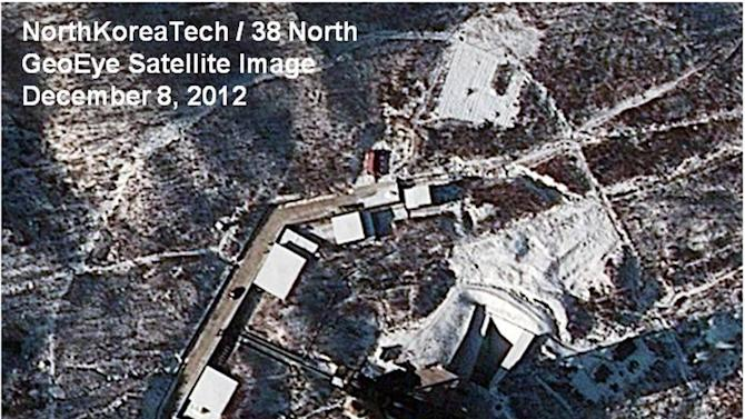 This Saturday Dec. 8, 2012 satellite image provided by GeoEye and annotated by 38 North, shows recent activity at the Sohae rocket launching facility in Cholsan County, North Pyongan Province, North Korea. An analysis written for 38 North, the website of the U.S.-Korean Institute at John Hopkins Advanced International Studies, predicted it's likely to take until Dec. 12-13 to remove the Unha-3 rocket and more than a week to repair it, meaning a launch is unlikely before Dec. 21-22. (AP Photo/GeoEye, 38 North, North Korea Tech)