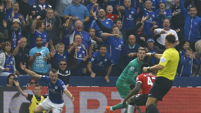 Leicester City's Vardy shouts for a penalty after being fouled by Manchester United's Blackett during their English Premier League soccer match at the King Power stadium in Leicester