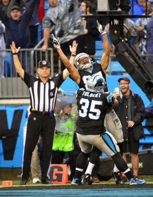 Domenik Hixon's last-minute touchdown beat the Saints and led to the Panthers' NFC South title (USA Today Sports Images)