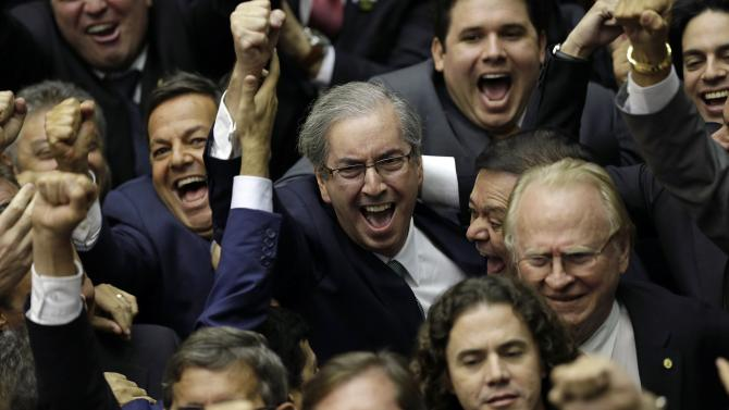 Deputy Eduardo Cunha reacts after being elected as the President of the Chamber of Deputies during a session in the plenary of the House of Representatives in Brasilia
