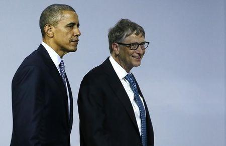 U.S. President Obama and Microsoft co-founder Bill Gates leave a meeting to launch the 'Mission Innovation: Accelerating the Clean Energy Revolution' at the World Climate Change Conference 2015 (COP21) in Le Bourget