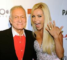 Hugh Hefner and Crystal Harris celebrate Hefner's 85th birthday at the Palms Casino Resort in Las Vegas on April 9, 2011  -- Getty Premium