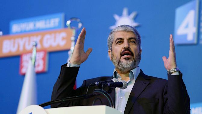 In this photo provided by Turkish Prime Minister's Press Service, Palestinian Hamas leader Khaled Mashaal speaks during the congress of Turkey's ruling Justice and Development Party in Ankara, Turkey, Sunday, Sept. 30, 2012. (AP Photo/Kayhan Ozer)