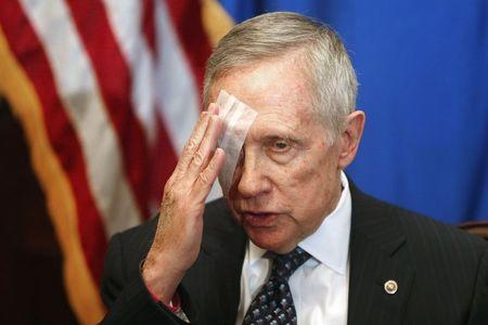 Reid talks about his health during a news conference in his office at the U.S. Capitol in Washington