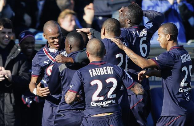 Girondins Bordeaux's players celebrate after N'Guemo scored against Lille during their French Ligue 1 soccer match in Bordeaux