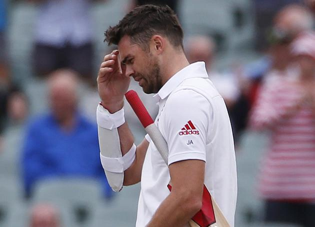 England's Anderson reacts to losing the second Ashes cricket test against Australia at the Adelaide Oval