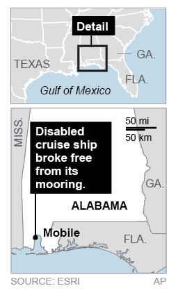 Locates cruise ship in Mobile, Alabama