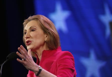 Former Hewlett-Packard Co Chief Executive Officer Carly Fiorina speaks at the Freedom Summit in Des Moines, Iowa