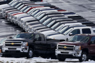 <p>               In this Wednesday, Jan. 9, 2013 photo, Chevy trucks line the lot of a dealer in Murrysville, Pa. Ford, Chrysler and General Motors all reported double-digit gains for January as last year's momentum in U.S. auto sales continued into 2013, according to reports Friday, Feb. 1, 2013. (AP Photo/Gene J. Puskar)