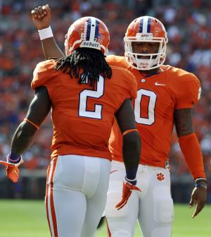 Clemson wide receiver Sammy Watkins (2) celebrates with teammate Tajh Boyd (10) after scoring a touchdown during the first half of an NCAA college football game against Wake Forest, Saturday, Sept. 28, 2013, in Clemson, S.C. (AP Photo/Rainier Ehrhardt)