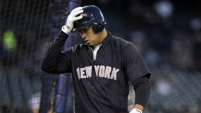 New York Yankees' Alex Rodriguez walks out of the batting cage following batting practice before the start of Game 3 of the American League championship series against the Detroit Tigers Tuesday, Oct. 16, 2012, in Detroit. (AP Photo/Matt Slocum)