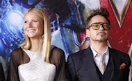 "Cast members Robert Downey Jr. and Gwyneth Paltrow pose at the premiere of ""Iron Man 3"" at El Capitan theatre in Hollywood, California April 24, 2013. REUTERS/Mario Anzuoni"