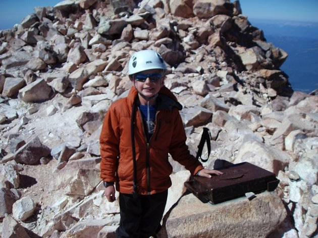 California 9-year-old Kip Van Horn atop Mt. Shasta — Van Horn family photo