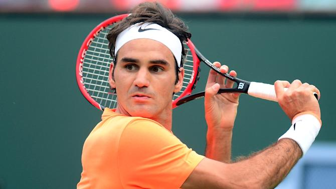 Roger Federer of Switzerland returns the ball during the men's final of the BNP Paribas Tennis Open in Indian Wells, California on March 22, 2015