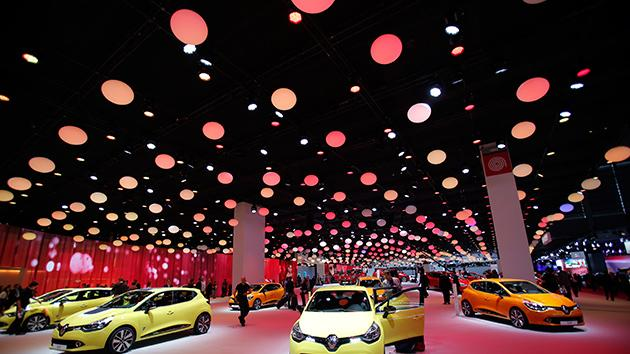 New Renault Clios on display during the press day at the Paris Auto Show.