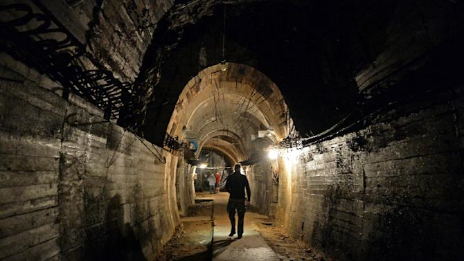 """Tunnels beneath Poland's Ksiaz castle, in the area where the Nazi """"gold train"""" is supposedly hidden"""