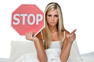 Woman stop sign