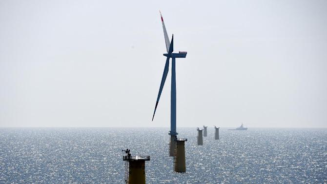 A wind turbine and foundations of others in the North Sea on 27.05.2014, 70 km west of the island of Sylt in a wind farm operated by Vattenfall and Stadtwerke München