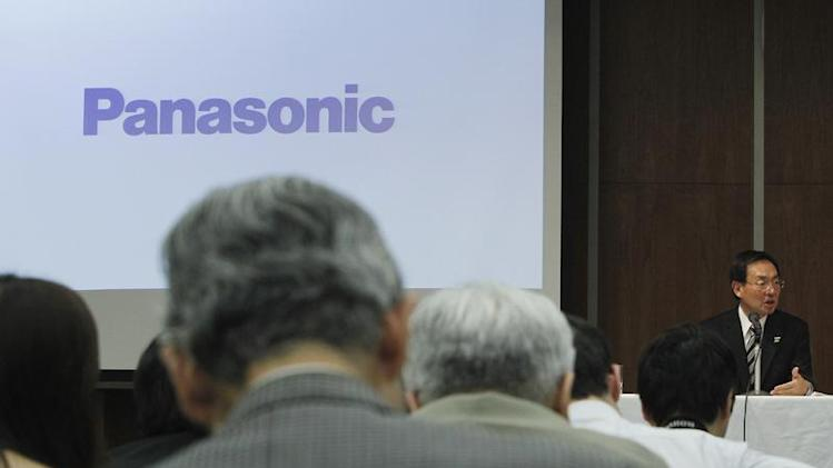 Panasonic Corp's President, Tsuga, speaks during a news conference at the company's office in Tokyo
