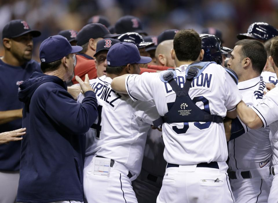 Benches empty after Tampa Bay Rays' Matt Joyce was hit with a sixth-inning pitch by Boston Red Sox starting pitcher John Lackey during a baseball game Monday, June 10, 2013, in St. Petersburg, Fla. (AP Photo/Chris O'Meara)