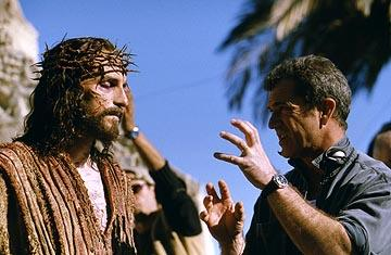James Caviezel and director Mel Gibson on the set of Newmarket's The Passion of the Christ