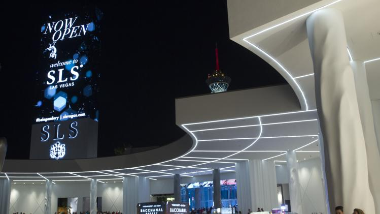 The porte cochere of the SLS Las Vegas hotel-casino is shown during the grand opening in Las Vegas