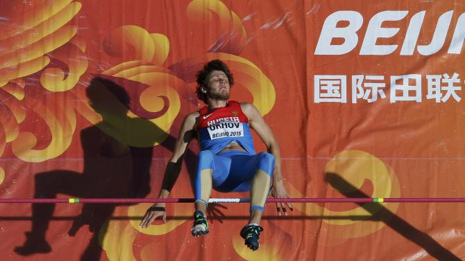 Ukhov of Russia competes in men's high jump qualification at 15th IAAF World Championships in Beijing