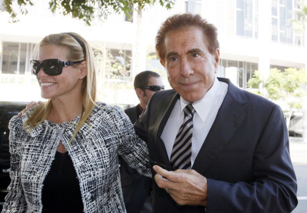 "Casino mogul Steve Wynn arrives at court with his wife, Andrea, for his slander trial Thursday Sept. 6, 2012 in Los Angeles. Wynn is contesting accusations made by ""Girls Gone Wild"" creator, Joe Francis. (AP Photo/Nick Ut)"