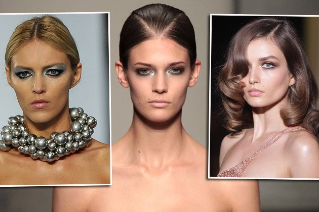 Chanel (l.), Gianfranco Ferré (M.) und Versace (r.) zeigen Metallic-Looks auf dem Catwalk (Bilder: Getty Images)