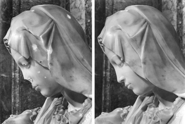 A combo photo shows a detail view of the damaged Michelangelo's Pieta and it after restoration works at the Vatican