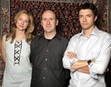 Laura Linney, director Dylan Kidd and Topher Grace 2004 Toronto International Film Festival - P.S. Portraits