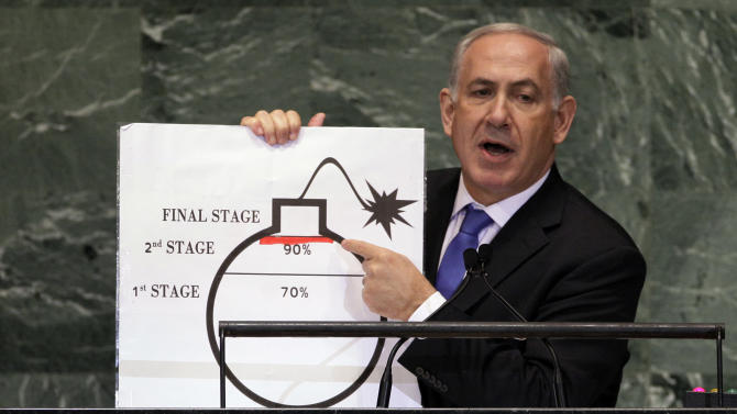 In this Thursday, Sept. 27, 2012 photo, Prime Minister Benjamin Netanyahu of Israel shows an illustration as he describes his concerns over Iran's nuclear ambitions during his address to the 67th session of the United Nations General Assembly at U.N. headquarters. Netanyahu's use of a cartoon-like drawing of a bomb to convey a message over Iran's disputed nuclear program this week, follows in a long and storied tradition of leaders and diplomats using props to make their points at the United Nations. (AP Photo/Richard Drew)