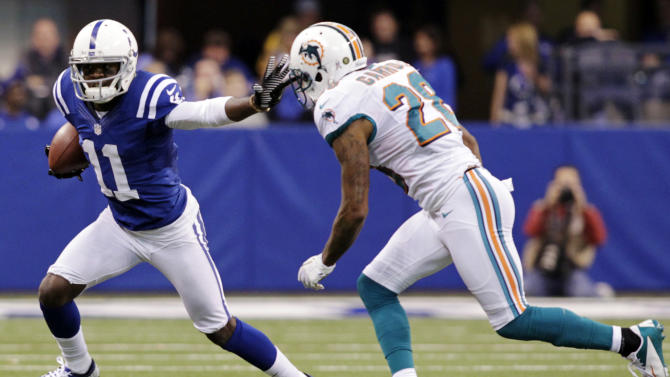 Indianapolis Colts wide receiver Donnie Avery (11) pushes off Miami Dolphins cornerback Nolan Carroll after making a catch during the first half of an NFL football game in Indianapolis, Sunday, Nov. 4, 2012. (AP Photo/AJ Mast)